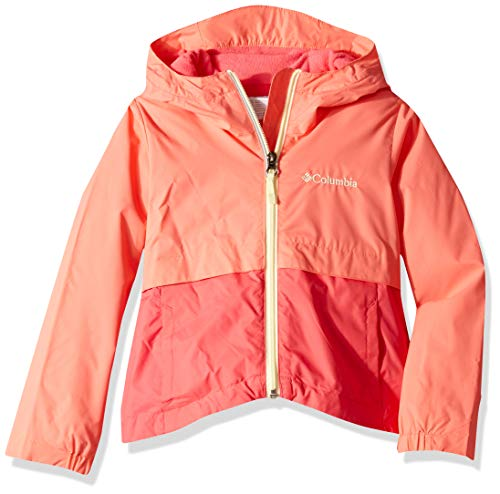 Hot Coral Apparel - Columbia Girls' Big Rain-Zilla Jacket, Hot Coral/Bright Geranium, Large