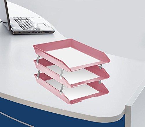 Acrimet Vaschetta Portacorrispondenza a Tre Livelli Frontale A4 Colore Rosa