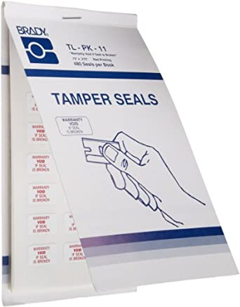 "Brady TL-PK-11 0.75"" Width x 0.375"" Height, B-351 Tamper Resistant Vinyl, Red on White Rectangle Seals, Legend ""Warranty Void if Seal is Broken"" (Pack of 480)"