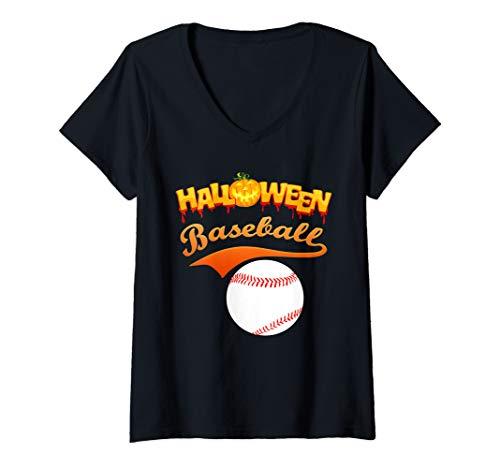 Softball Player Halloween Costume Ideas (Womens Funny Halloween Baseball player softball player gift idea V-Neck)