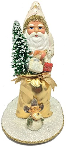 - Pinnacle Peak Trading Company Ino Schaller Santa's Golden Toy Bag German Christmas Paper Mache Candy Container