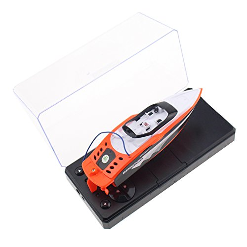 Tipmant 4 CH Mini RC Boat Ship Radio Remote Control Speedboat Speed Racing Boat Water Toy Kids Gift (Orange)