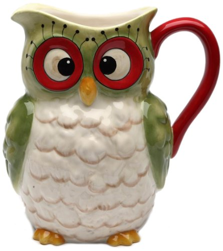 Cosmos Gifts 10902 Owl Design Holiday Ceramic Pitcher, 8-Inch