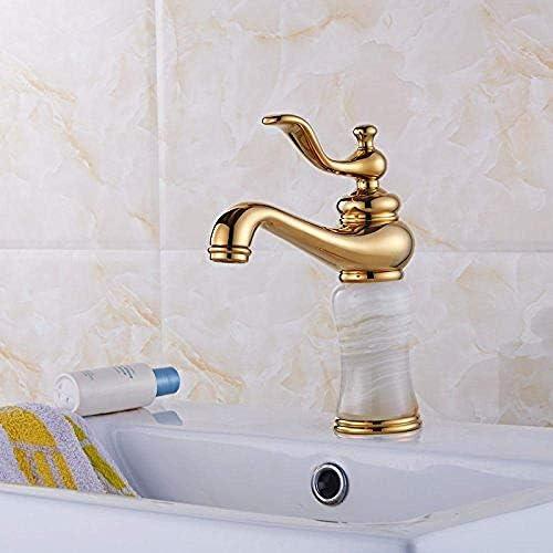 キッチンの蛇口ヨーロッパの天然銅とゴールドの天然ヒスイの蛇口アンティークシンクの下大理石の蛇口大理石のホットとコールドゴールドメッキアンティークバスルームの配管