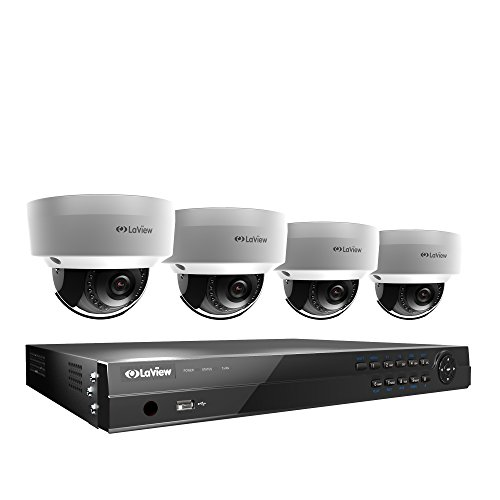 LaView 8CH PoE Home Security Camera System 8MP 4K NVR 2TB HDD with 4 Outdoor 4MP Surveillance IP Security Cameras HD 2560x1440 100ft Night Vision