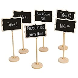 MyGift Set of 6 Freestanding Erasable Wood Chalkboard Wedding Dinner Party Table Place Card Signs, White