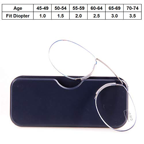 (Presbyopic Glasses Unisex Pince-Nez Reading Glasses Clamp Nose Eyeglasses Portable Strong Durable Slim Case, Degree +1.0 to +3.5,Brown,1.5)