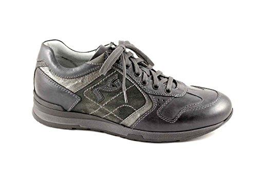 NEGRO JARDINES 3640 Antracita hombre calzado deportivo cordones de cuero + tela Grigio