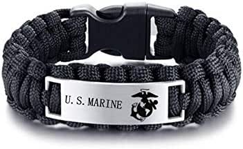 LiFashion LF Mens Womens Stainless Steel Armed Forces US Marine Corps,Outdoor Rescue Rope Hiking Camping Hunting Paracord Survival US Marine Bracelet Bangle for Christmas,Birthday