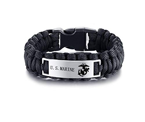 LiFashion-LF-Mens-Womens-Stainless-Steel-Armed-Forces-US-Marine-CorpsOutdoor-Rescue-Rope-Hiking-Camping-Hunting-Paracord-Survival-US-Marine-Bracelet-Bangle-for-ChristmasBirthday