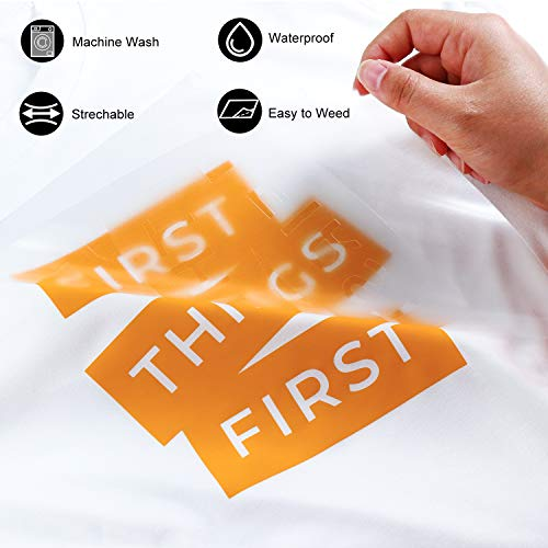 "ARHIKY Heat Transfer Vinyl HTV Bundle: 10 Pack Orange Yellow 12""x10"" Sheets for DIY Iron On T-Shirts Fabrics"