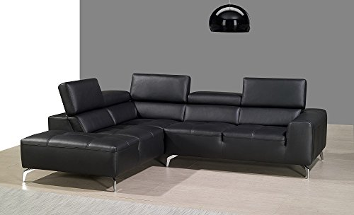 A978 Premium Italian Leather Sectional Sofa with Left Chaise