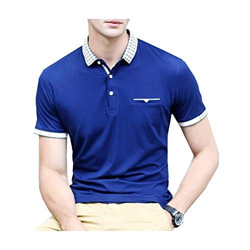 エレガンザー ボロシャツ メンズ 半袖 カジュアル 欧米風 S-XL ゴルフウェア スポーツウェア トップス ビジネス スタイリッシュ ストライプ切替 通気吸汗