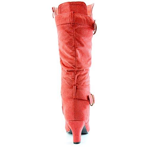 """Dailyshoes Damen Slouchy Mid Calf Riemchen Stiefel mit Knöchel und Top Straps - 2 """"Heel Fashion Boots Rote Sv"""