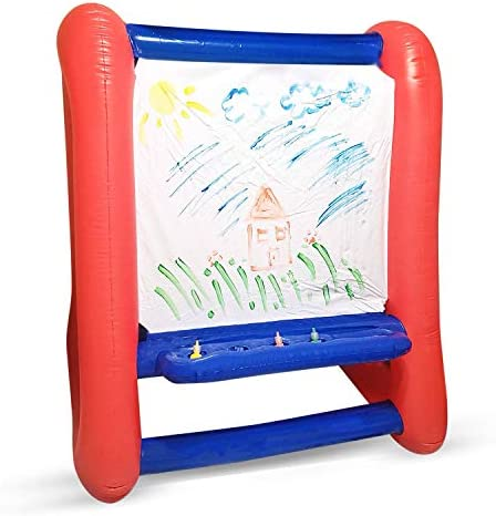 Inflatable Art Easel For Kids   Red & Blue Easel For Kids   Double Sided 4 Ft Tall 3 Ft Wide   Inflatable Easel Great For Indoor Or Outdoor Inflatables Games