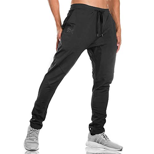 Blend Sweatpants Cotton (Gwings Mens Jogger Sport Pants, Casual Zipper Gym Workout Sweatpants Pockets (S, Black))