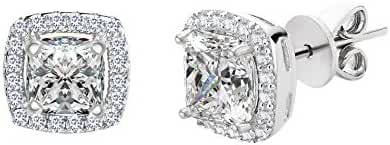 SPECIAL OFFER Sterling Silver Asher Cut Halo Cubic Zirconia Post Earring