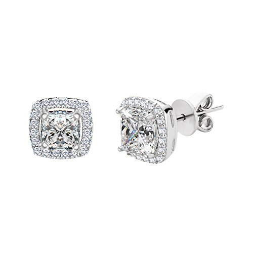 SPECIAL OFFER Sterling Silver Asher Cut Halo Cubic Zirconia Post Earring (White Gold)