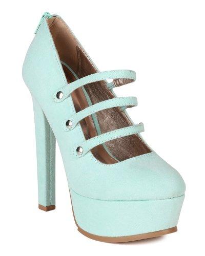 Qupid AH75 New Women Suede Mary Jane Round Toe Platform Stiletto Heel Pump - Menthol (Size: 7.0)