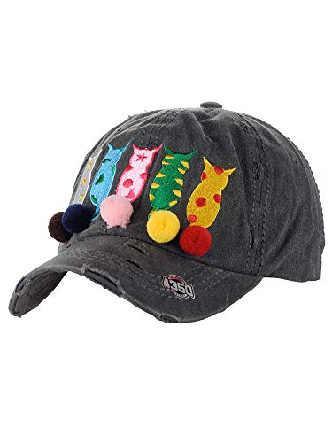 NYFASHION101 Women's Distressed Unconstructed Embroidered Baseball Cap Dad Hat, Pom Tail Cat, Black]()