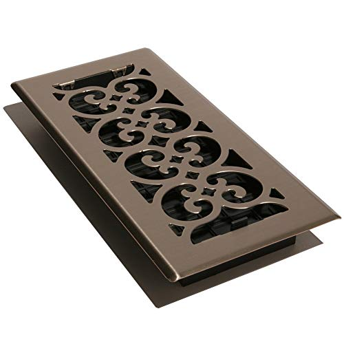 Dеcоr Grаtеs Home Decor SPH414-NKL 4-Inch by 14-Inch Scroll Floor Register, Brushed Nickel ()