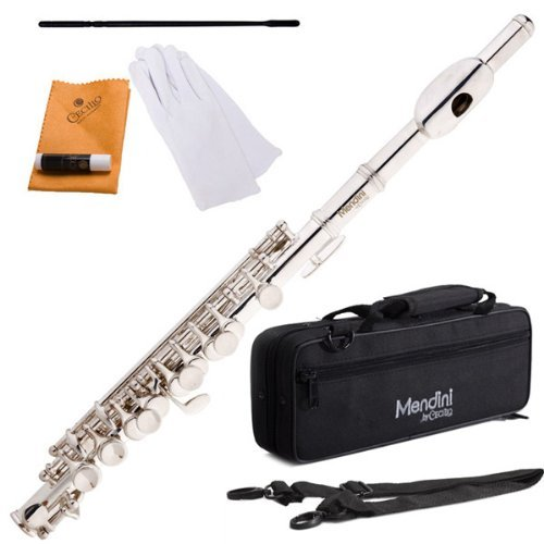 (Mendini MPO-S Silver Plated Key of C Piccolo with Case, Joint Grease, Cleaning Cloth and Rod, and Gloves)