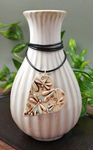 Wisdom Aromatherapy (Essential Oil Diffuser Necklace Aromatherapy Perfume Ceramic Clay Artist Heart Pendant in Mocha Marble Aqua Dragonfly on a Espresso Brown Waxed Cotton Necklace)