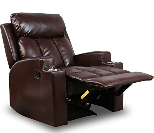 BONZY Recliner Chair Contemporary Theater Seating Two Cup Holder Brown Leather Chairs for Modern Living Room Durable ()