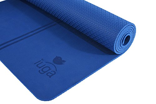 "IUGA Non Slip Yoga Mat, Extra Thick 7mm, Middle Stripes for Alignment Reminding, Free Quality Carry Strap, 100% TPE Material - Excellent Cushion, Anti-Skid and Light-Weight, Size 72""X26"""