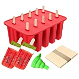 Homemade Popsicle Molds Shapes, Food Grade Silicone Frozen Ice Popsicle Maker BPA-Free, with 50 Popsicle Sticks and a Silicone Funnel