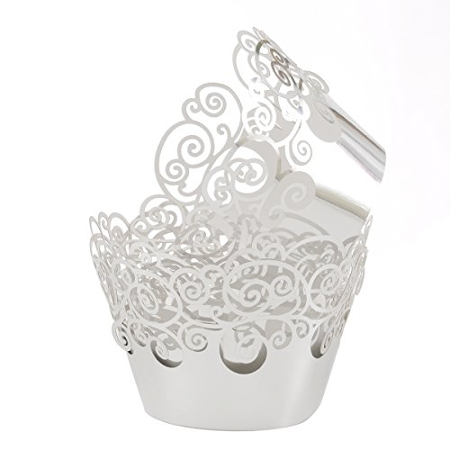 Aiyaya Filigree Artistic Muffin Case Cupcake Paper Cup Liner Little Vine Lace Laser Cupcake Wrappers for Wedding Party Birthday Decoration (Mirror Silver)