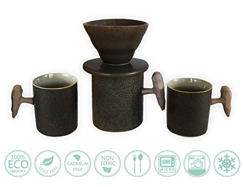 Urn Coffee Over Pour (Globe Faith Eco-friendly Ceramic Clever Pour Over Coffee Dripper and Coffee Mug Sets, Reusable Portable Cone Coffee Brewer and Espresso Cups Set, Dark Brown)