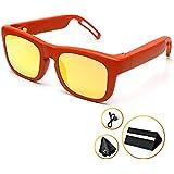 Audio Bluetooth Sunglasses for Men - Mutrics Stylish Smart Music Sunglasses with Virtual 5.1 Surround Sound, Hands Free Call, AI Voice Control, UV 400 Lens & IP55 Sweat Resistant, Orange