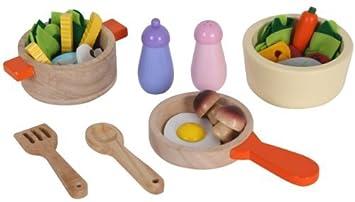 Kinderküche zubehör holz  Kochtopf Set für Spielküche aus Holz Pfanne und Lebensmittel ...