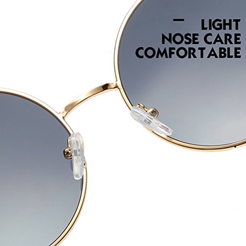 gafas estuche for Womens Mens Gold Frames Con Sunglasses Mirror Zhuhaitf Unisex Oversized Design Polarized de amp;pink Round Fashionable wOxAnfvq7