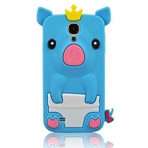 Efuture azul 3D Happy corona Pig de silicona carcasa de silicona para Samsung Galaxy S4/i9500 + incluye color