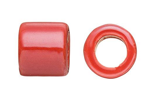 Tube Licorice Ceramic Bead Fits 10x8mm licorice Leather Red Glazed Finished