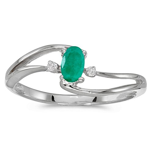 FB Jewels 10k White Gold Genuine Green Birthstone Solitaire Oval Emerald And Diamond Wave Wedding Engagement Statement Ring - Size 9 (1/6 Cttw.) ()