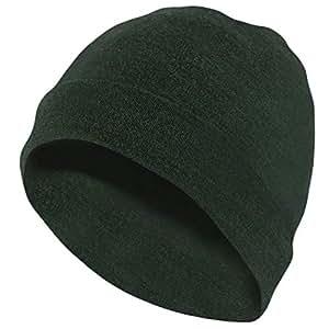 MERIWOOL Unisex Merino Wool Cuff Beanie Hat - Army Green