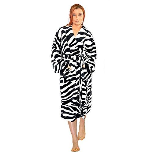 Home Soft Things Men & Women Bathrobe Printed Microfiber Flannel Fleece Cloth Robe, Black White Zebra, L/XL