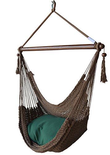 Caribbean Hammocks Chair with Footrest - 40 inch - Soft-Spun Polyester - (Mocha)