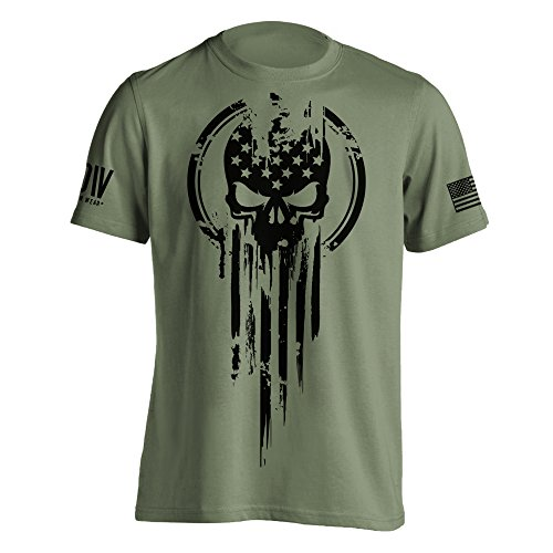 American Warrior Flag Skull Military T-Shirt XXX-Large Military Green