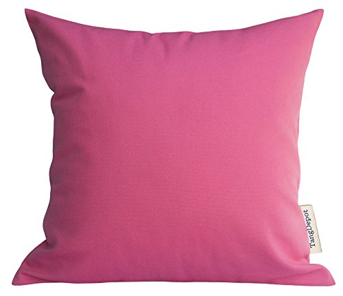 TangDepot Handmade Decorative Solid 100% Cotton Canvas Throw Pillow Covers/Pillow Shams, Many Colors available - (14x14, Hot Pink)