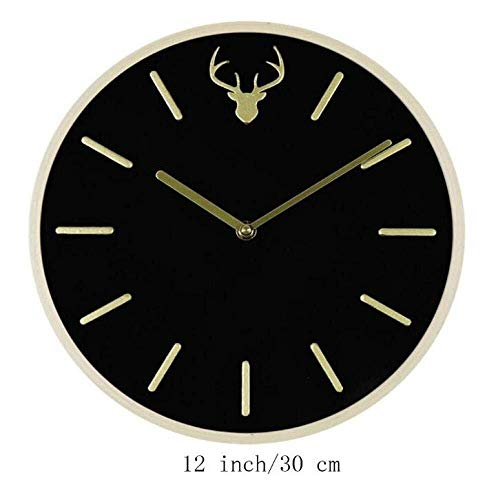 MQW Wooden Activated Carbon Living Room Decorated Wall Clock, Hand Painted Gold 3D Time Scale,Picture Color,A Stylish Simplicity