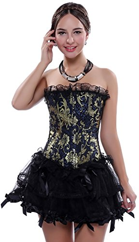 [BINCHENG Womens Golden Floral Lace Trim Corset TuTu Skirt Costume Set XX-Large Black] (Make Your Own Halloween Costume With Clothes)