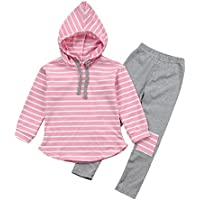 Vicbovo Hot Sale Toddler Kids Boy Girl Striped Long Sleeve Hoodie Pants Outfits Winter Clothes Set for 3-7Y