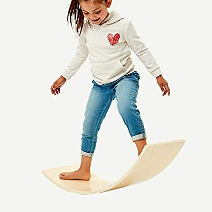 Natural Wood Waldorf Balance Board Swing Board Perfect Rocking Chair Toy Childrens Curve Board Wooden Rocking Board