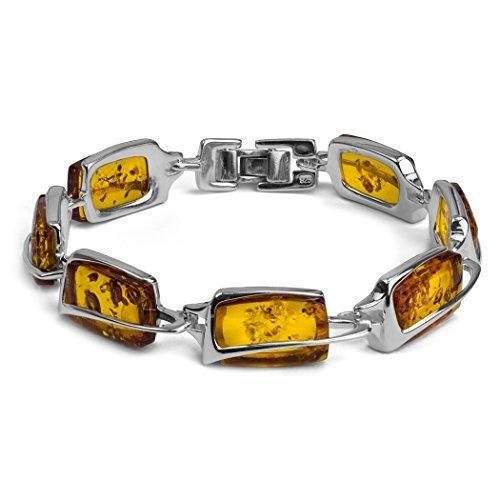 Bracelet en ambre de la Baltique Argent Sterling 19 cm