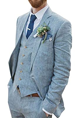 Retro Blue Linen Suit for Men Casual Wedding Suit for Men Seersucker Suit Slim Fit 3 Pieces Jacket Blazer Groom Tuxeo
