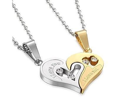 e5ee2dd3fe7f Acero inoxidable para hombre Mujer Pareja Amistad Puzzle CZ amor juego colgante  de corazón colgantes